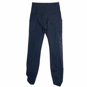 LULULEMON Black Mesh Cropped Pants Leggings Size 4